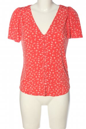 Oasis Blouse à manches courtes rouge-blanc imprimé allover style décontracté