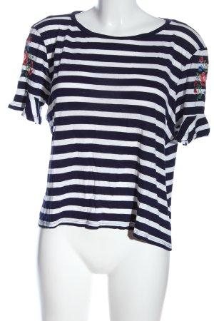 Oasis Blouse à manches courtes bleu-blanc imprimé allover style décontracté