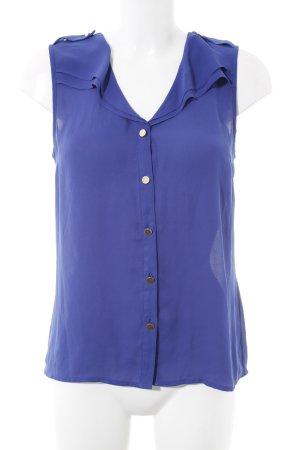 Oasis Kurzarm-Bluse blau Metallknöpfe