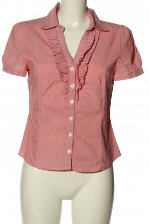 Oasis Kurzarm-Bluse rot-weiß Streifenmuster Casual-Look