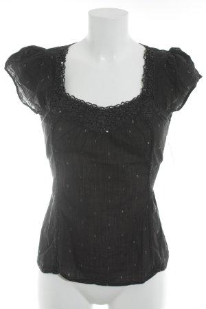 Oasis Kurzarm-Bluse schwarz Punktemuster Paillettenverzierung