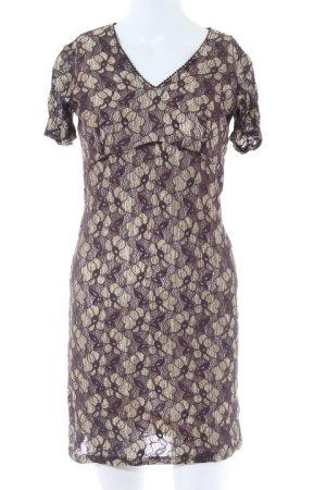Oasis Kurzarmkleid creme-bordeauxrot Street-Fashion-Look