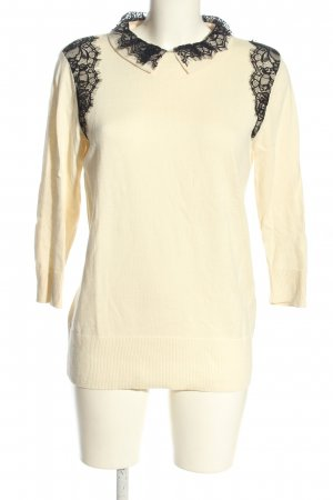 Oasis Sweater met korte mouwen room-zwart zakelijke stijl