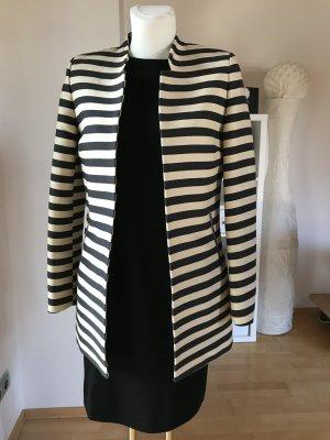 Oasis Kurzmantel gestreift creme schwarz lange Jacke Longblazer Sommermantel