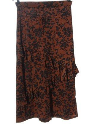 Oasis Jupe mi-longue brun-noir motif abstrait style décontracté