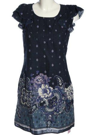 Oasis Minikleid blau-weiß Blumenmuster Casual-Look