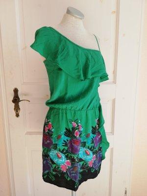 Oasis Oneshoulder Kleid Minikleid grün Gr. XS 34 tropical tropisch Vögel