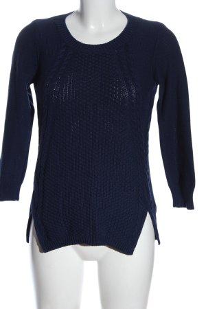 Oasis Sweter z okrągłym dekoltem niebieski Warkoczowy wzór W stylu casual
