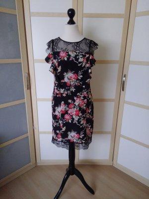 Oasis Koronkowa sukienka czarny-czerwony neonowy Poliester