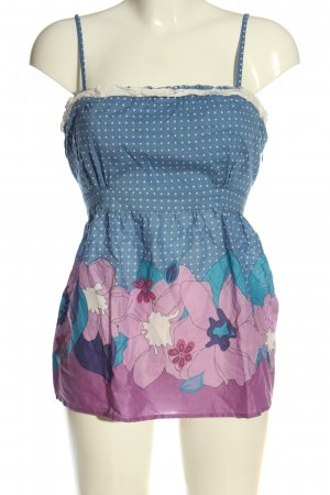Oasis Spaghetti Strap Top blue-pink allover print casual look