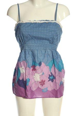 Oasis Top z cienkimi ramiączkami niebieski-różowy Na całej powierzchni
