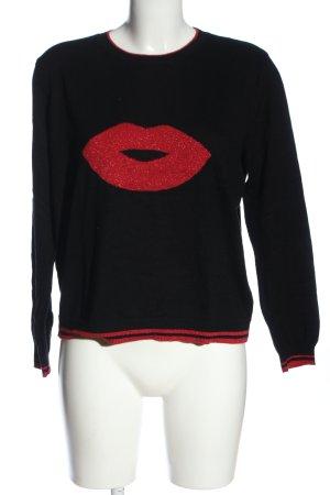 Oasis Pull tricoté noir-rouge imprimé avec thème style décontracté