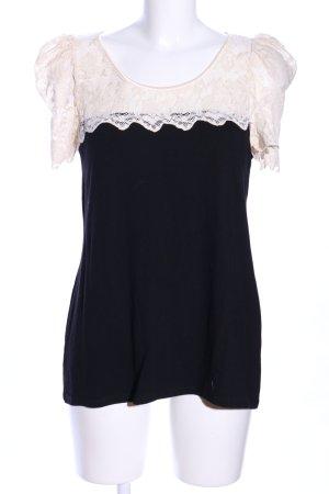Oasis T-Shirt wollweiß-schwarz Casual-Look