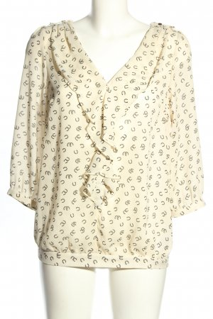 Oasis Transparenz-Bluse creme-schwarz Motivdruck Casual-Look