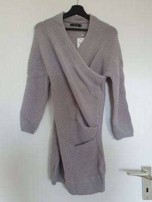 Simple Woolen Dress silver-colored-light grey polyacrylic