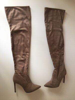 H&M Botas sobre la rodilla taupe-marrón grisáceo