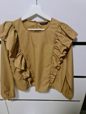 Calliope Ruche blouse brons-lichtbruin