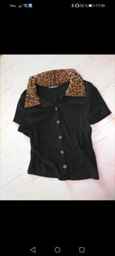 SheIn V-Neck Shirt black-bronze-colored