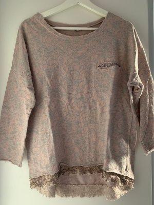 Boatneck Shirt light grey-dusky pink