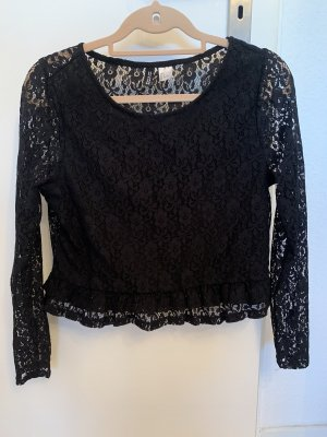 H&M Divided Lace Top black