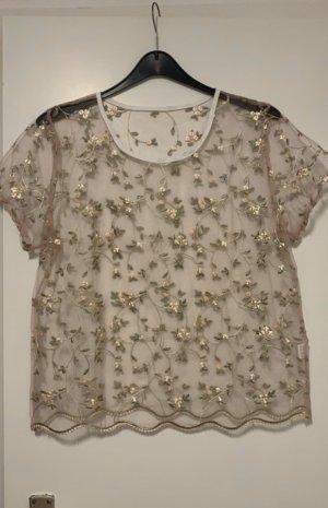 SheIn Camisa de malla rosa-caqui