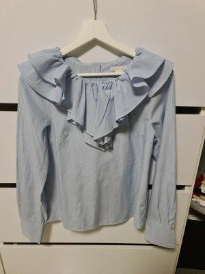 H&M Bluzka z falbankami biały-błękitny
