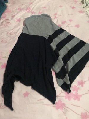 Short Sleeve Knitted Jacket dark blue-light grey