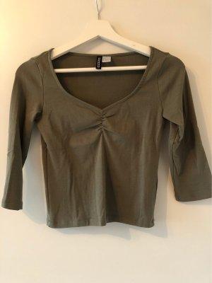 H&M Divided T-shirt col en V vert foncé-kaki