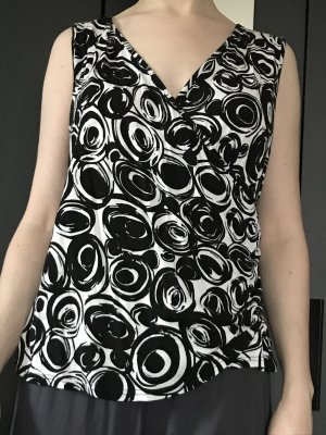 Creation L. T-Shirt black-natural white viscose