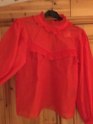 Hennes Collection by H&M Bluzka z falbankami czerwony