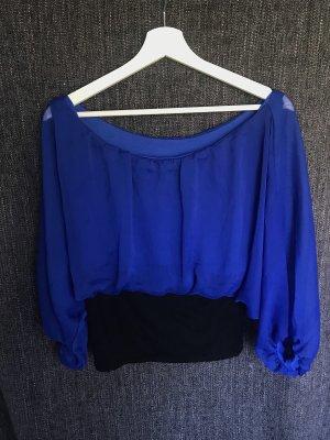 Koszula z odcięciem pod biustem czarny-niebieski