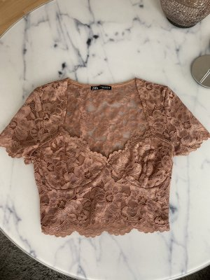 Zara Koszula o skróconym kroju w kolorze różowego złota-brzoskwiniowy