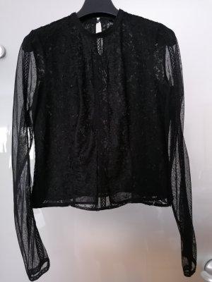 Guess Blusa de encaje negro