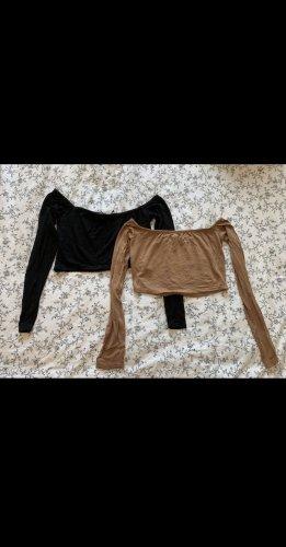 Boohoo Cropped Shirt black-brown