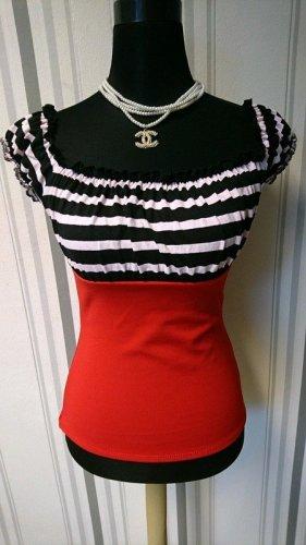 Belsira Top bez ramiączek czarny-czerwony Tkanina z mieszanych włókien