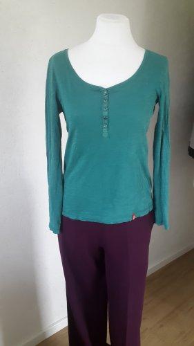 Edc Esprit Koszulka z dekoltem w kształcie litery V zielony-petrol Bawełna