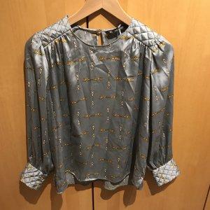 Zara Glanzende blouse turkoois-cadet blauw