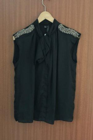 Oberteil Bluse Schwarz Gr. 36 S Mango Suit Epaulette Verzierung NEU