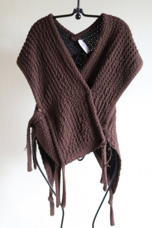 Knitted Poncho dark brown mixture fibre