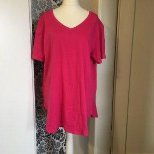 T-shirt col en V rose