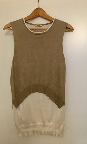 Celine Cárdigan de punto fino camel-crema tejido mezclado