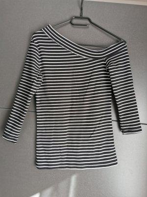 Camisa de un solo hombro blanco-negro