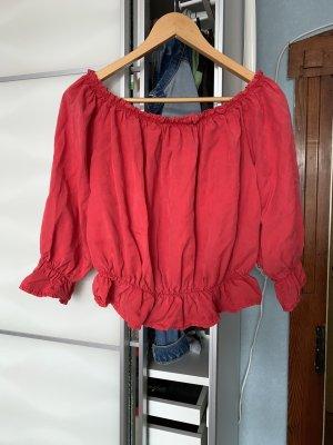 Made in Italy Top sin hombros rojo