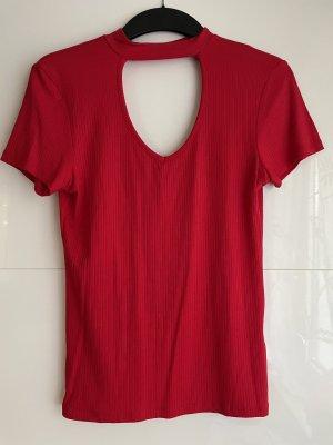 Amisu Prążkowana koszulka czerwony