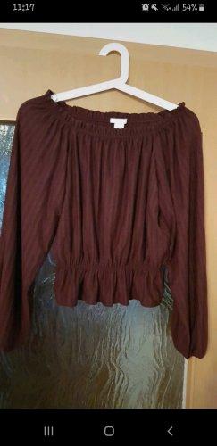 H&M Camisa tipo Carmen burdeos-rojo amarronado