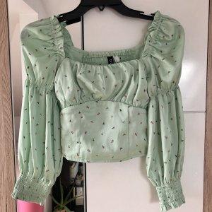 H&M Long Sleeve Blouse lime-green linen