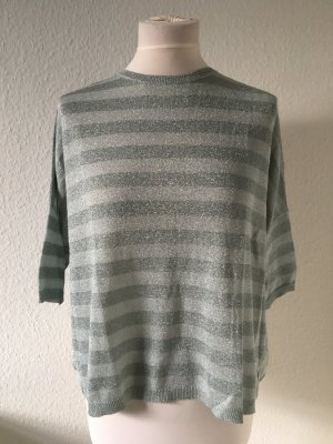 Schuhmacher Cárdigan de manga corta gris claro-color plata tejido mezclado