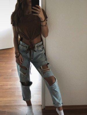 H&M Camisa acanalada marrón-negro
