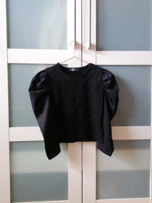 Bershka Prążkowana koszulka czarny