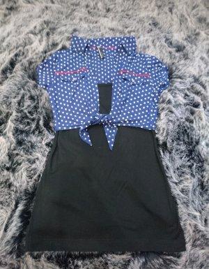 Oberteil mit Punkten Bluse blau weiß schwarz